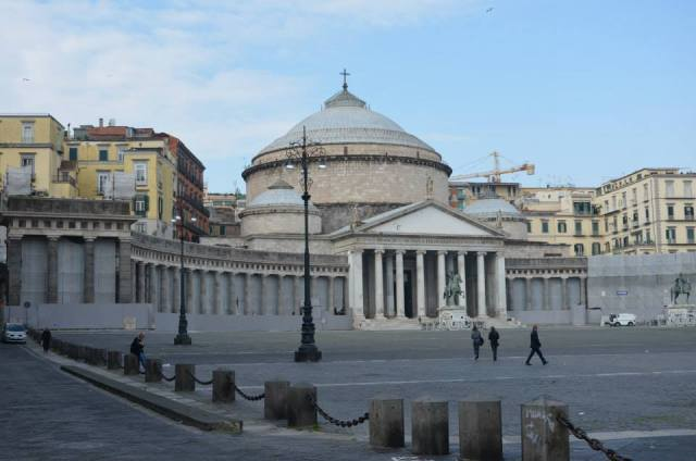 The Royal Basilica of San Francesco di Paola. It was built in nineteenth century by Francesco I di Bourbon. It was ispired by neoclassical style of Pantheon