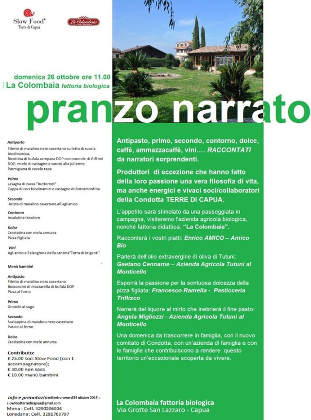 Pranzo Narrato Slow Food Terre di Capua 26 ott.14