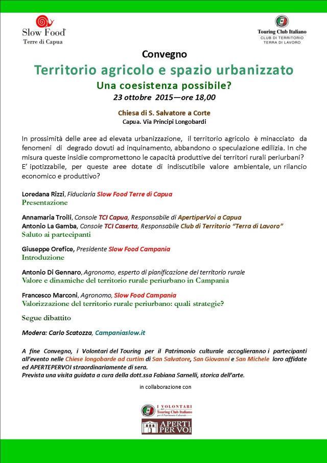 locandina convegno Slow Food e Touring Club Italiano